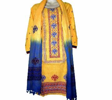02Cotton Stitched Boutique Salwar Kameez For Women - Multicolor