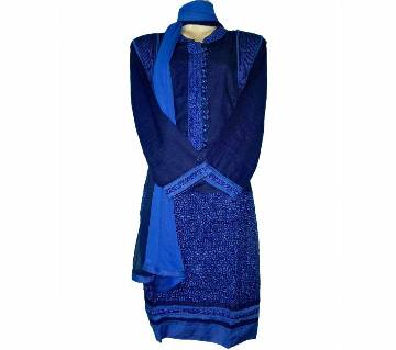 04Cotton China Linen Collar Embroidery Stitched Salwar Kameez For Women - Blue