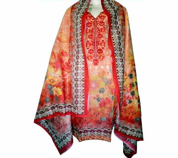 05Cotton Printed Organdy Embroidery Stitched Salwar Kameez For Women - Multicolor