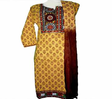 06Cotton Embroidery Stitched Boutique Salwar Kameez For Women - Multicolor