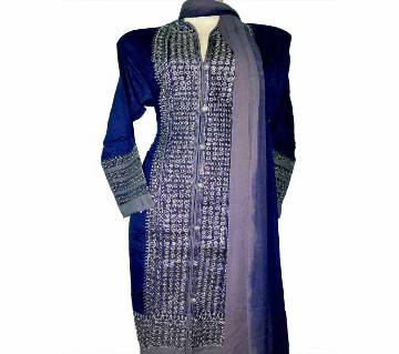 07Cotton Embroidery Sherwani Style Stitched Salwar Kameez For Women - Navy Blue and Grey