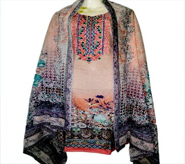 09Cotton Embroidery Mill Print Stitched Salwar Kameez For Women - Multicolor