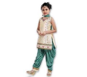 Art Silk with Net Fabric Patiala Salwar Set for Girl