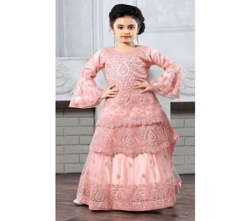 Art Silk with Net Fabric Long Peplum for Girl - Pink
