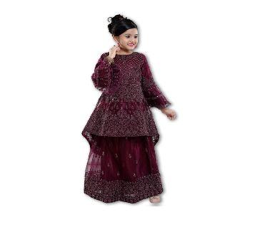 Art Silk with Net Fabric Peplum for Girl - Light Purple