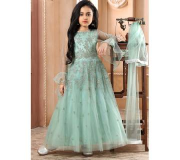 Art Silk with Net Fabric Gown for Girl - Paste