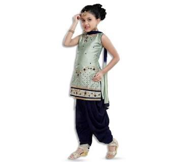 Art Silk with Net Fabric Patiala Salwar Set for Girl - Multicolor