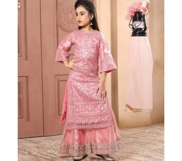 Art Silk Embroidery Work Salwar Kameez For Gril - Ghazni pink