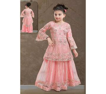 Art Silk Embroidery Work Peplum For Gril - Pink