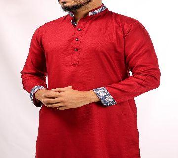 CONTRAST COLLARED RED PANJABI BY ECSTASY Bangladesh - 11393892