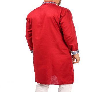 CONTRAST COLLARED RED PANJABI BY ECSTASY Bangladesh - 11393893
