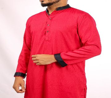 RED PANJABI WITH CONTRAST DETAILS BY ECSTASY Bangladesh - 11393912