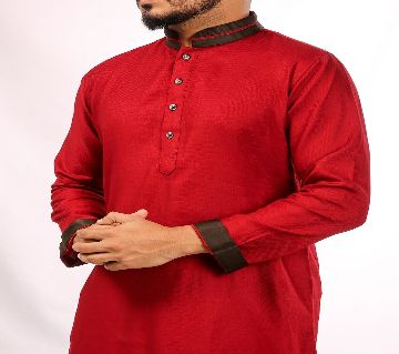 RED PANJABI WITH CONTRAST COLLARED BY ECSTASY Bangladesh - 11393922