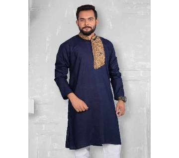 Waazir Lifestyle GENTS SEMI LONG COTTON PUNJABI EID COLLECTION-blue by Nitya Rong