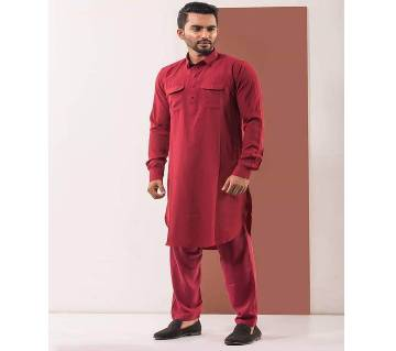 Chines Linen Kabuli for men-maroon