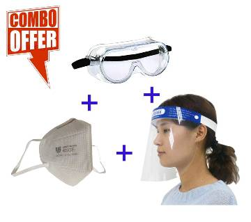 1 Goggles + 1 Face shield + 1 KN95 Mask Combo Offer