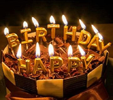 Happy Birthday Letter Candles Golden