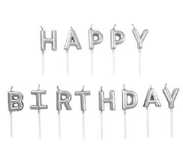 Happy Birthday Letter Candles Silver