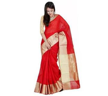 Red Half Silk Sharee With Golden Border with blouse piece
