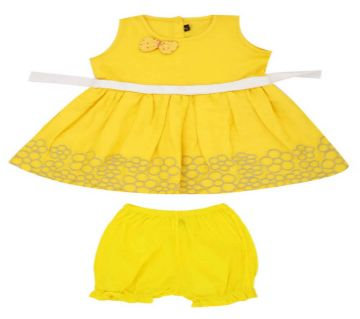 Cotton Embroidered Frock Set For Girls