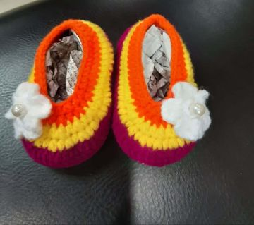 Baby Shoes Crochet Woolen  Knitted with heavy duty sole,  Sock Infant Baby Shoes Lightweight and Soft Comfortable Shoes.