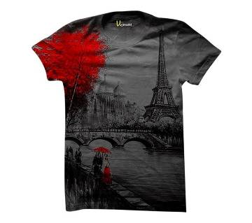 Sid Tower Ash Cotton Short Sleeve T-Shirt for Men