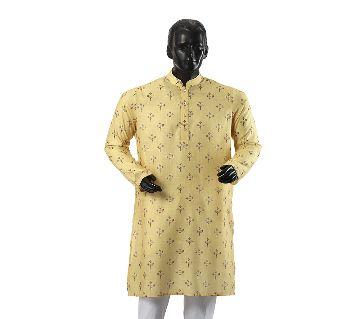 Mens Semi long Cotton Panjabi-3-yellow