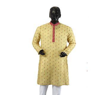 Mens Semi long Cotton Panjabi-4-yellow