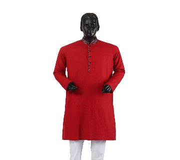 Mens Semi long Cotton Panjabi-6-red