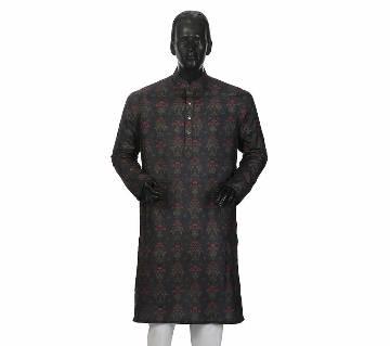 Mens Long Cotton Panjabi - 12 (Dark Print)
