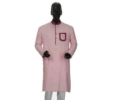 Mens Long Cotton Panjabi - 13 (Light Pink)