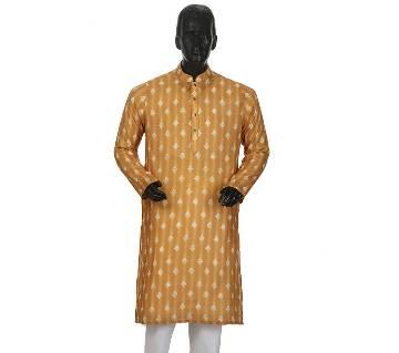 Mens Long Cotton Panjabi - 14 (white print)