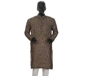 Mens Long Cotton Panjabi - 15 (Dark Gray Print)