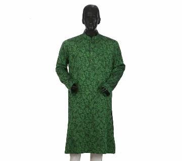 Mens Long Cotton Panjabi - 16 (Green Print)