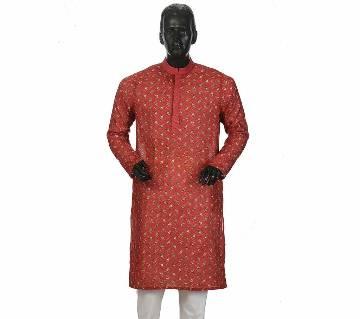 Mens Long Cotton Panjabi - 17 (Red Print)