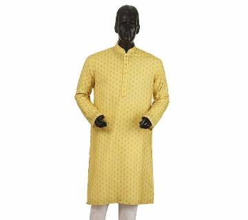Mens Long Cotton Panjabi - 18 (Yellow Print)