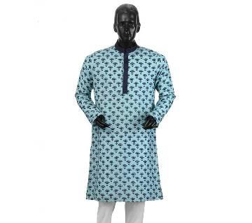 Mens Long Cotton Panjabi - 19 (Blue & Black Print)