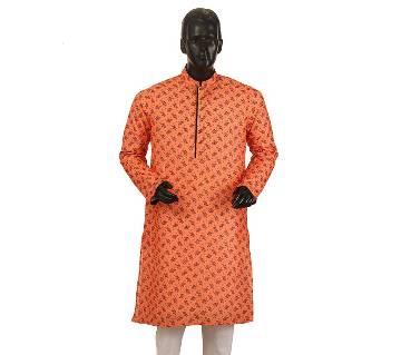 Mens Long Cotton Panjabi - 20 (Orange Print)