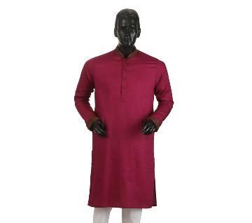 Mens Long Cotton Panjabi - 21 (Deep Red)