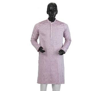 Mens Long Cotton Panjabi - 23 (Light Purple Print)