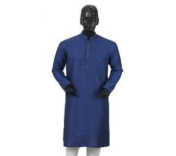 Mens Long Cotton Panjabi - 25 (Blue)