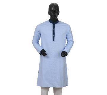 Mens Long Cotton Panjabi - 28 (Light Blue)