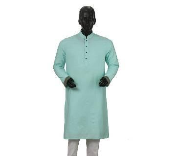 Mens Long Cotton Panjabi - 31 (Light Blue)