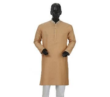 Mens Long Cotton Panjabi - 32 (Light dark)