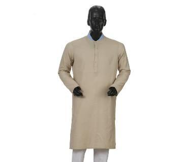 Mens Long Cotton Panjabi - 34 (Light Gray)