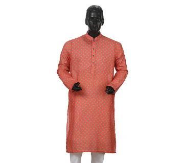 Mens Long Cotton Panjabi - 35 (Red Print)