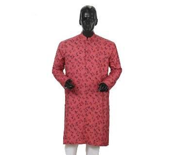 Mens Long Cotton Panjabi - 36 (Red Print)