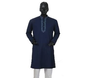 Mens Long Cotton Panjabi - 39 (Dark Blue)
