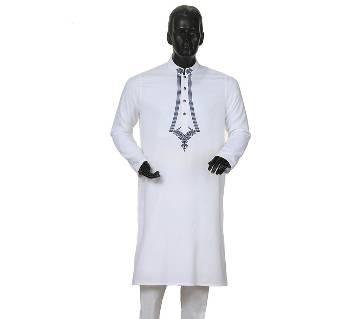 Mens Long Cotton Panjabi - 40 (white)