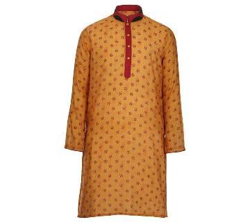Mens Long Cotton Panjabi - 53 (Deep Yellow Print)